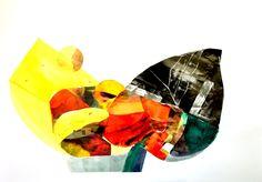 8. Bez tytułu IV, Martyna Bocheńska, abstrakcyjny kolaż inspirowany pejzażem, 100 x 70 cm, oprawiony w białe ramy