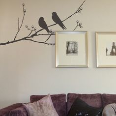Birds On A Branch Wall Sticker by Nutmeg Wall Stickers, the perfect gift for Explore more unique gifts in our curated marketplace. Vinyl Wall Stickers, Wall Decals, Wall Art, Bedroom Art, Beautiful Wall, Bird Feathers, Home Gifts, Green And Grey, Color Schemes