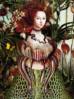 surrealista moderno 'Miss Eve' Art Print by Catrin Welz-Stein Art And Illustration, Illustrations, Fantasy Kunst, Fantasy Art, Art Du Collage, Image Originale, Ouvrages D'art, Pop Surrealism, Wassily Kandinsky