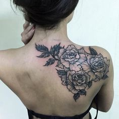 Rose back shoulder tattoo