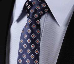 "TC242V7 Navy Blue Orange Check 2.75"" 100%Silk Woven Slim Skinny Narrow Men Tie Necktie Handkerchief Pocket Square Suit Set"
