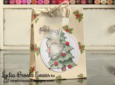 No Peeking christmas kitty gift bag by Lydia Brooke for Newton's Nook Designs - Newton's Curious Christmas Cat stamp set