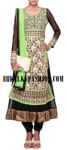 Buy Online from the link below. We ship worldwide (Free Shipping over US$100) http://www.kalkifashion.com/beige-and-black-anarkali-suit-embroidered-in-lucknowi-thread-work-only-on-kalki.html