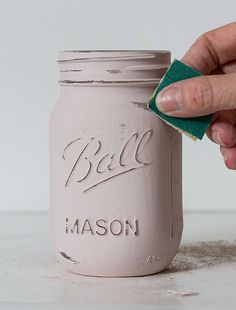 Use distressed mason jars to hold bathroom supplies and Kleenex and stuff.