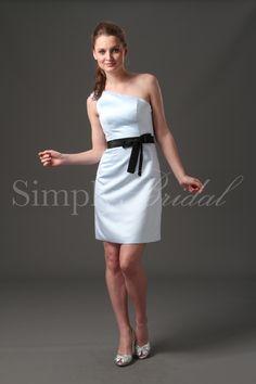 One-Shoulder Satin/Taffeta Dress with Sash #wedding #bridesmaid #dress #satin #taffeta