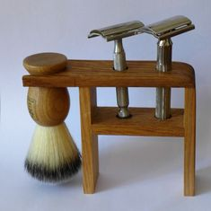 https://flic.kr/p/DpYKhA | my handmade razor and brush stand | Nowadays I only use oldtime great shaving tools. I didn't have a stand for them, so I made this of oak. Two Gillettes and a Body-shop Brush.