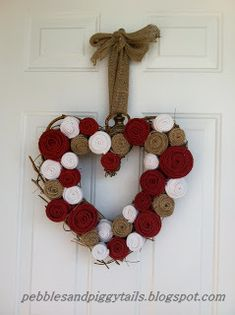 Cute Valentine's Day wreath made from recycled sweaters and burlap!