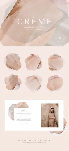 Ad: Natural Abstract Collection by Basia Stryjecka on Natural Collection of Abstract Shapes and Backgrounds in Clay, Blush, Gray and Neutral Hand-created shapes, backgrounds, and frames. Add a Corporate Design, Branding Design, Logo Design, Branding Ideas, Web Design, Layout Design, Graphic Design Inspiration, Color Inspiration, Creation Web