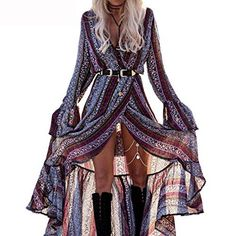 Long boho dress Coachella style Coachella dress Long slit dress Gypsy dress Festival look Coachella fashion Tap the link now to see our super collection of accessories ma. Mode Hippie, Mode Boho, Festival Looks, Festival Style, Boho Festival Fashion, Hippie Festival, Maxi Wrap Dress, Maxi Dress With Sleeves, Slit Dress