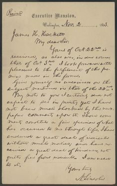 Letter to James H. Hackett from Abraham Lincoln, November 2, 1863.