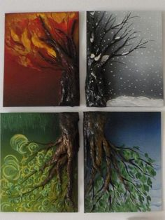 4 seasons on canvas panels... recycled materials and plasters for the trees and painted with acrylic, oils and air brushing.