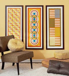 Reimagine textiles as wall art by placing scarves inside picture frames. Display coordinating patterns together for an entire gallery of artistic neckware: http://www.bhg.com/decorating/decorating-style/flea-market/flea-market-makeovers/?socsrc=bhgpin032814scarfart&page=10