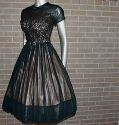 Vintage 50's Black Nude Illusion Lace Party Prom Formal…~ Looks like it is is good condition