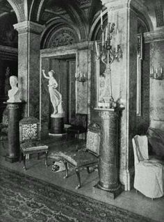 Cornelius Vanderbilt II Mansion, New York City. Water Color Room. The Vanderbilts bought the entire row of houses behind them and brought in George B. Post and Richard Morris Hunt to build them a palace that would occupy the entire block. When it was completed , the chateau would be the largest home ever built in New York City, with 137 rooms, 37 bedrooms, 16 baths, a library, numerous salons, a baronial dining room, smoking room and a magnificent ballroom.