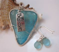 'Sterling Silver Wrapped Blue Sea Glass & Earrings' is going up for auction at  9pm Mon, Jun 18 with a starting bid of $5.