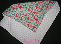 Personalized Soft Minky Baby Blanket Colorful Foxes Flannel