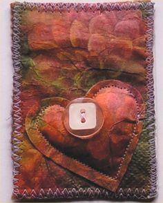 Heart fabric postcard ❤