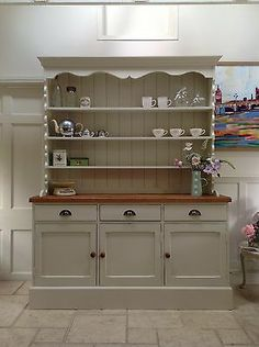 Hand Painted Dresser Cream Solid Pine Welsh Dresser Sideboard Kitchen Unit