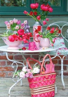 Pink and pretty table, summer, flowers, outdoors, ...
