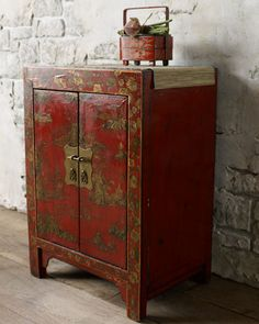 Red & Gold Antique Cabinet, c. 1880 at Horchow.