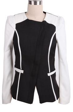 #SheInside Black White Belt Back Pockets Crop Suit - Sheinside.com