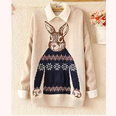 Buy 'Ringnor – Rabbit-Print Drop-Shoulder Sweater' with Free International Shipping at YesStyle.com. Browse and shop for thousands of Asian fashion items from China and more!