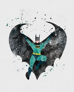 Batman Begins Boys Superhero Nursery Art Print Wall Decor. Decorate your nursery with watercolor art prints for nursery walls from VividEditions, Art Prints For Kids. With a large selection of baby modern art decor. Im Batman, Batman Art, Gotham Batman, Batman Robin, Hq Marvel, Marvel Dc Comics, Comic Kunst, Comic Art, Geeks