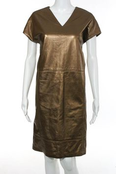 Shamask Bronze Metallic Leather Short Sleeve Shift Dress Size 1 $2995 New