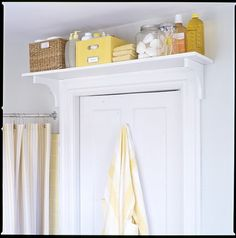 "I love this ""over the door"" shelf idea. I may think about this in the new place. With all the pre-cut shelving & brackets available, it would be so simple to spray paint and assemble something like this."