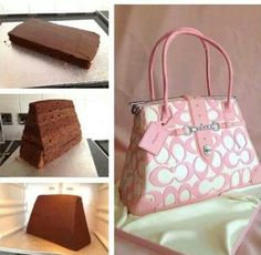 Purse cake More Shoe Box Cake, Shoe Cakes, Cupcake Cakes, Cupcakes, Cake Decorating With Fondant, Cake Decorating Techniques, Coach Purse Cakes, Gym Cake, Camo Wedding Cakes