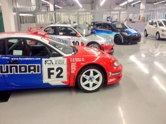 Coupe, Accent & i20 WRC cars at the new Hyundai Motorsport facility in Germany