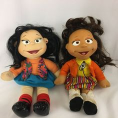 Fisher Price The Puzzle Place My Friends Lot of 2 Julie & Kiki Flores 1994 Plush #FisherPrice