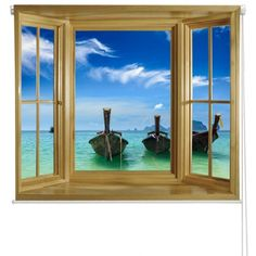 Roller Blinds Rb14 Printed Window View Of Long Tail Boats On