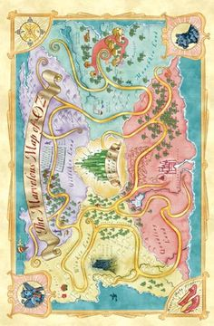 WIZARD OF OZ MAP OF OZ Poster 36 by 24