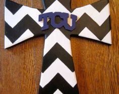 Black & White Chevron TCU Wall Cross