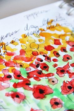 sketchbook - poppies by alisa burke - she is a freelance painter and mixed media artist. . . . . . . Facebook: https://www.facebook.com/pages/Alisa-Burke/276748829019308?ref=hl  Pinterest: http://pinterest.com/alisaburke/