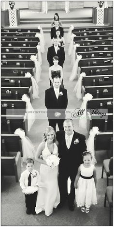 Such a unique angle for the wedding party photo! SO COOL, Could take the picture from the balcony at church!