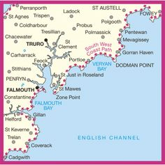 Area covered by OS Landranger Map 204 for Truro & Falmouth