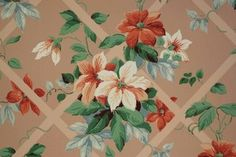Red and White Flowers on a Trellis Vintage Wallpaper