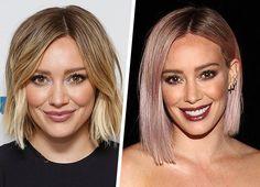 Antes e depois do cabelo de Hilary Duff. A atriz pintou seu cabelo de rosa.
