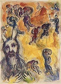 Марк Шагал -  Моисей видит страдания своего народа  (c.1966) - Открыть в полный размер