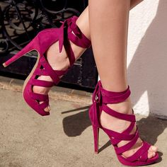 Sexy and Strappy 'Drea' Faux Suede Heels