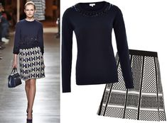 17Foolproof Sweater-and-Skirt Combos to Wear This Fall - Embellished Sweater + Graphic Print  - from InStyle.com