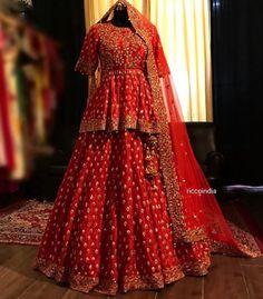 Indian Wedding Gowns, Indian Bridal Outfits, Red Lehenga, Bridal Lehenga Choli, Indian Dresses Online, Bollywood Dress, Ethnic Wear Designer, Types Of Dresses, Wedding Bride
