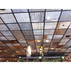 using corrugated metal for ceiling Ceiling, House Design, Metal Ceiling, Basement Remodeling, Rustic Basement, Tap Room, Corrugated Metal, Ceiling Panels, Ceiling Design