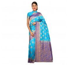 Zari work tusser silk saree in sky blue