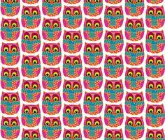kookie owl fabric by scrummy on Spoonflower - custom fabric