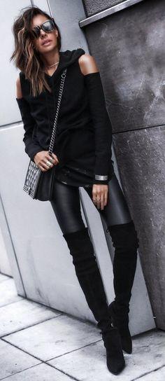 Jacket: Blank nyc – Hoodie: Pam & Gela Tank: AG – Leggings: Helmut Lang Boots: Stuart Weitzman