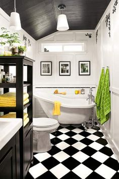 31 retro black white bathroom floor tile ideas and pictures         black ceiling  thisoldhouse      Large scale graphic prints can be  wielded to make a space feel more substantial  Here  black and white  checkerboard tile