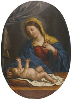 Circle of Giovanni Francesco Barbieri, called Il Guercino THE MADONNA AND CHILD oil on panel, oval 58 by 41 cm.; 22 3/4  by 16 1/4  in.